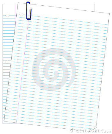 Lined paper and paper clips