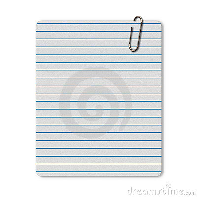 Lined paper with paperclip