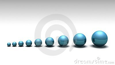 Lined up spheres