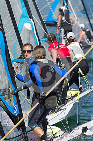 Lined up at the start during 49erFX North American championships in Miami Editorial Stock Image