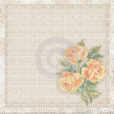 Linen background with the embroidered roses