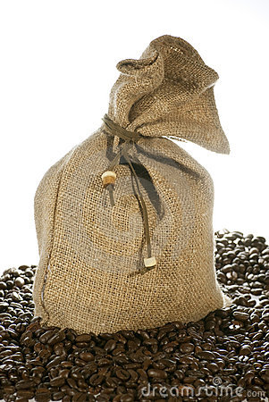 Linen bag and coffee beans