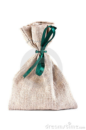 The linen bag fastened green flight