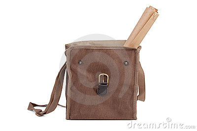 Linen bag with protruding paper roll