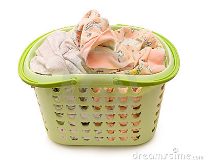 Linen in a basket on a white