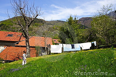 Linen drying at spring