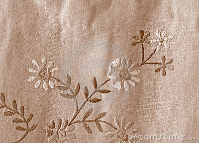 Linen fabric with flowers