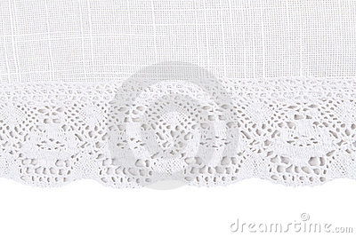 Linen fabric with lace