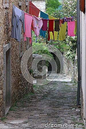 Linen in Motovun streets