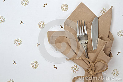 Linen napkin with knife and fork