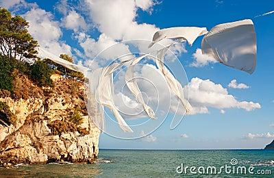 Linen over sea