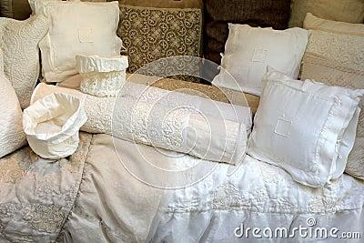 Linen Pillow Cases with Cotton Crochet lace