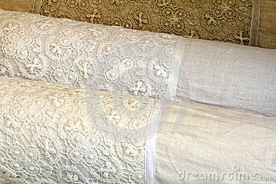 Linen Pillow Cases with Cotton Crochet lace