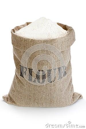 Free Linen Sack With Flour Royalty Free Stock Photo - 37379595