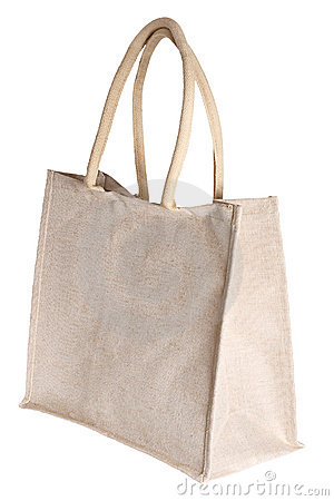 Linen shopping bag isolated on white