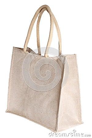 Linen shopping bag isolated on white