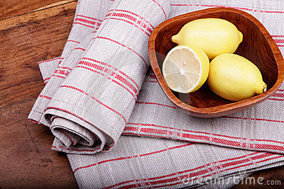 Linen tea towel and lemons.