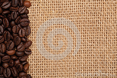 Linen texture with coffee beans