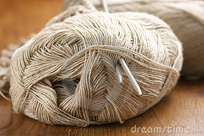 Linen yarn close-up
