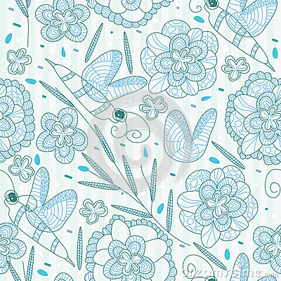 Lines Bee Flower Seamless Pattern_eps