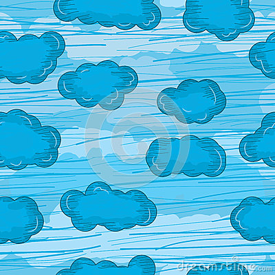 Lines Draws Clouds Seamless Pattern_eps