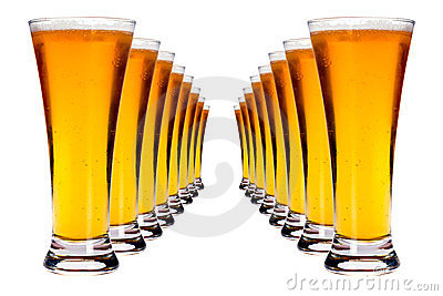 Lines of lager beer