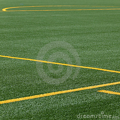 Lines on soccer pitch