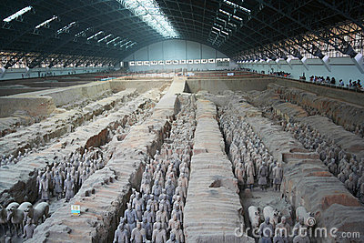 Lines of Terracotta Army Soldiers in Pit 1 Editorial Stock Photo