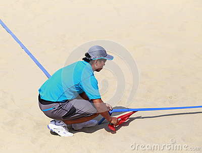 Linesman of beach volleyball,xiamen,china Editorial Image