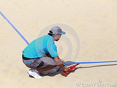 Linesman of beach volleyball,xiamen,china Editorial Image