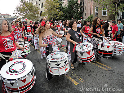 Lineup of Drummers at the Parade Editorial Stock Photo