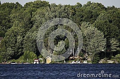 Linha costeira do lago com casas de campo