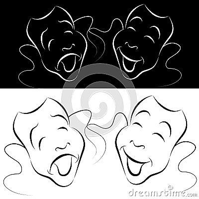 Linha jogo da máscara do drama da arte