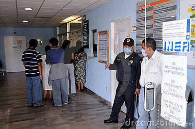 Lining up for influenza checkup in Mexico Editorial Stock Image
