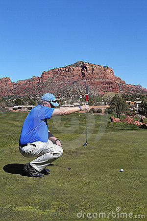 Lining up a Putt in Sedona