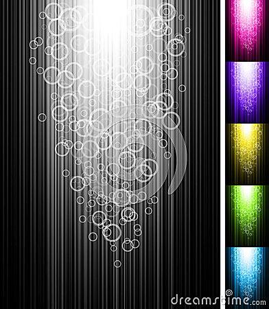Linjen med cirklar skiner vertikal bakgrund