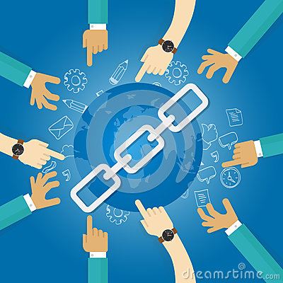Link building seo search engine optimization world connect hands blue Vector Illustration