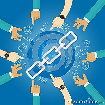 Link building seo search engine optimization world connect hands blue Vector Illustration