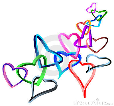 Linked 3 d hearts