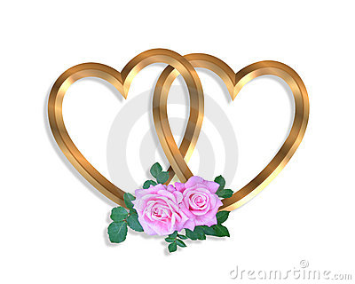 Linked Gold Hearts and roses 3D