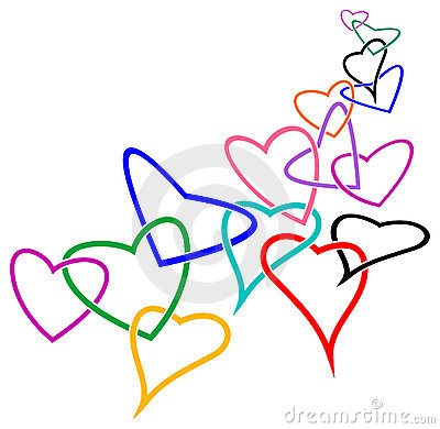 Linked hearts Vector Illustration