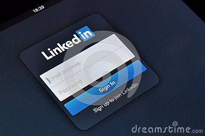 Linkedin login page on Apple iPad screen Editorial Image