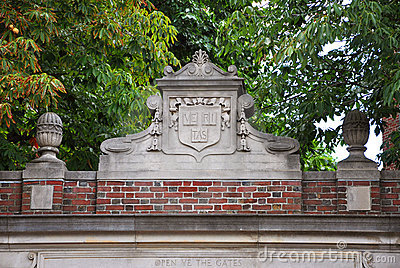 Lintel of Harvard University, Cambridge, USA Editorial Stock Photo