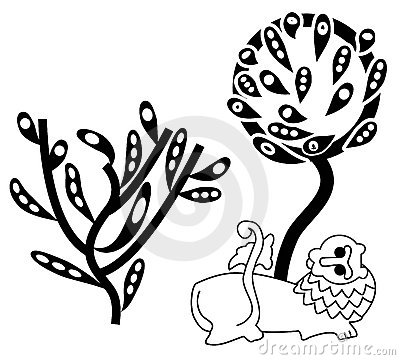 Lion and abstract trees