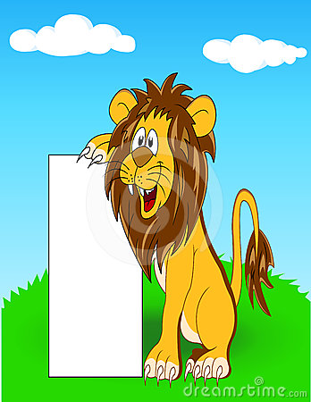 Lion with blank sign