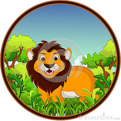 Lion cartoon with forest background