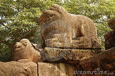 Lion Carvings Polonnaruwa, Sri Lanka