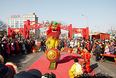 Lion dance for  chinese new ye Editorial Stock Image