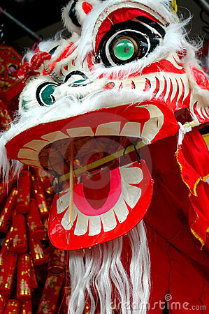 Lion dancing Chinese dragon