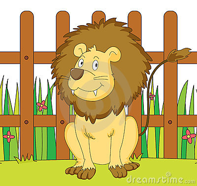 Lion and fence